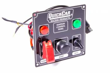 QuickCar Racing Products - QuickCar Ignition Control Panel With Single Accessory Switch w/Flip Switch Ignition Cover - Warning Lights - Black