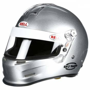 Bell GP.2 Youth Helmet - Silver (Left Front View)