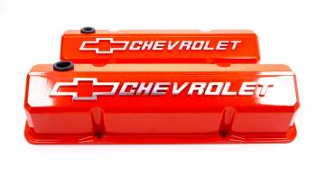 Proform Parts - Proform Slant-Edge Valve Cover - Bow Tie Emblem - Chevy Orange