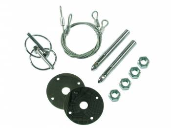 """Mr. Gasket - Mr. Gasket Competition Hood & Deck Pinning Kit - Includes Scuff Plates / Two 24"""" Lanyard Cables / Two Torsion Clips / Hardware"""