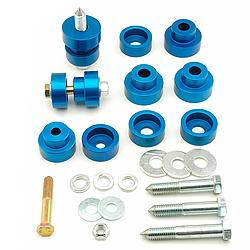 Global West - Global West Body Mount Bushing Kit - Black - Aluminum - GM - 1967-73 Camaro/Firebird / 1968-74 Nova