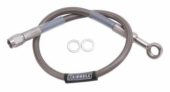 "Russell Performance Products - Russell 16"" DOT Endura Brake Hose 10mm Banjo to #3 Straight"