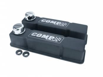 Comp Cams - COMP Cams SB Chevy Cast Aluminum Valve Cover Set - Black w/ Comp Logo