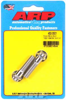 "ARP - ARP Stainless Steel Starter Bolt Kit - 12-Point - Two 1.50"" Under Head Length Length Bolts - Ford 2 Bolt Starters"