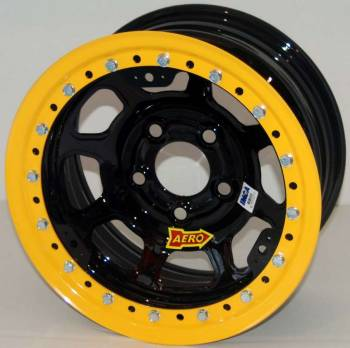 "Aero Race Wheel - Aero 53 Series Rolled Beadlock Wheel - Black - 15"" x 10"" - Wide 5 - 4"" Back Spacing - 24 lbs."