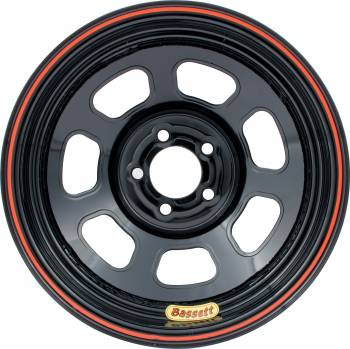 "Bassett Racing Wheels - Bassett D-Hole Lightweight Wheel - 14"" x 7"" - 5 x 100mm Bolt Circle - 2"" Back Spacing - Black - 15 lbs."