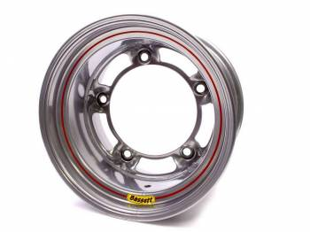 "Bassett Racing Wheels - Bassett Wide 5 Armor Edge Spun Wheel - 15"" x 10"" - Silver - 5.5"" Back Spacing - 18 lbs."