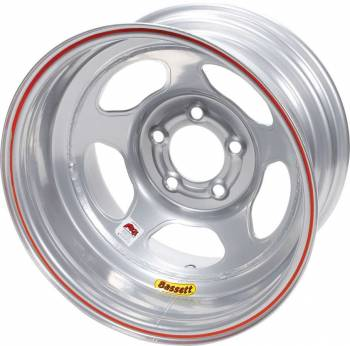 "Bassett Racing Wheels - Bassett IMCA Inertia Wheel - 15"" x 8"" - 5 x 5"" - Silver - 3"" Back Spacing - 19 lbs."