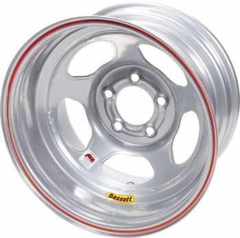 "Bassett Racing Wheels - Bassett IMCA Inertia Wheel - 15"" x 8"" - 5 x 4.75"" - Silver - 3"" Back Spacing - 19 lbs."