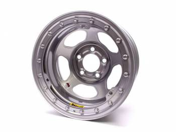 "Bassett Racing Wheels - Bassett IMCA Inertia Wheel - 15"" x 8"" - 5 x 4.5"" - Silver - 4"" Back Spacing - 19 lbs."