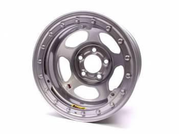 "Bassett Racing Wheels - Bassett IMCA Inertia Wheel - 15"" x 8"" - 5 x 4.5"" - Silver - 4"" Back Spacing - 19 lbs."