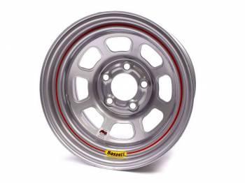 "Bassett Racing Wheels - Bassett IMCA D-Hole Wheel - 15"" x 8"" - 5 x 5"" - Silver - 2"" Back Spacing - 19 lbs."