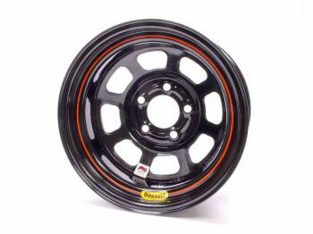 "Bassett Racing Wheels - Bassett IMCA D-Hole Wheel - 15"" x 8"" - 5 x 5"" - Black - 3"" Back Spacing - 19 lbs."