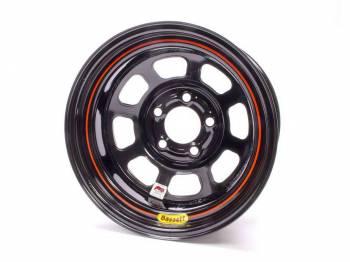 "Bassett Racing Wheels - Bassett IMCA D-Hole Wheel - 15"" x 8"" - 5 x 5"" - Black - 4"" Back Spacing - 19 lbs."