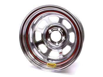 "Bassett Racing Wheels - Bassett IMCA D-Hole Wheel - 15"" x 8"" - 5 x 5"" - Chrome - 4"" Back Spacing - 19 lbs."