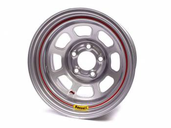 "Bassett Racing Wheels - Bassett IMCA D-Hole Wheel - 15"" x 8"" - 5 x 4.5"" - Silver - 2"" Back Spacing - 19 lbs."