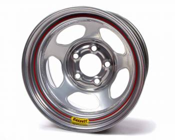 "Bassett Racing Wheels - Bassett Armor Edge Dirt Track Wheel - 15"" x 8"" - 5 x 4.75"" - Silver - 3"" Back Spacing - 19 lbs."
