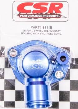 "CSR Performance Products - CSR Performance 360 Swivel Thermostat Housing - SB Ford - 1-1/4"" Hose Connection Blue"