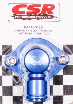 "CSR Performance Products - CSR Performance Billet Aluminum 360 Swivel Thermostat Housing - Blue Anodized - Chevy Big, SB - 1-1/2"" Hose Connection"