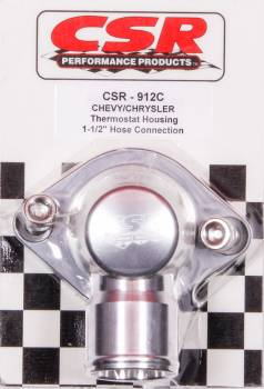 "CSR Performance Products - CSR Performance Billet Aluminum 360 Swivel Thermostat Housing - Clear (Silver) Anodized - Chevy Big, SB - 1-1/2"" Hose Connection"