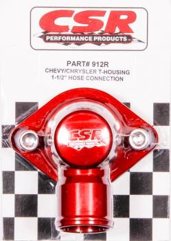 "CSR Performance Products - CSR Performance Billet Aluminum 360° Swivel Thermostat Housing - Red Anodized - Chevy Big, SB - 1-1/2"" Hose Connection"