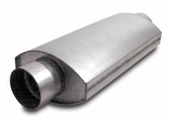 "Dynatech - Dynatech Split-Flow Oval Race Muffler - 2-1/2"" In, Out - 14"" Length x 7"" Width x 4-1/2"" Height"