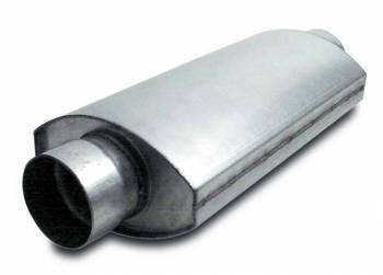 "Dynatech - Dynatech Split-Flow Oval Race Muffler - 4"" In, Out - 14"" Length x 7"" Width x 4-1/2"" Height"