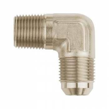 "Aeroquip - Aeroquip Aluminum -06 Male AN to 1/4"" NPT 90° Adapter - Nickel Plated"