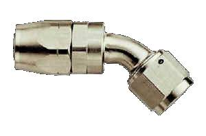 Aeroquip - Aeroquip Reusable Aluminum -06 AN 45° Swivel Hose End - Nickel Plated