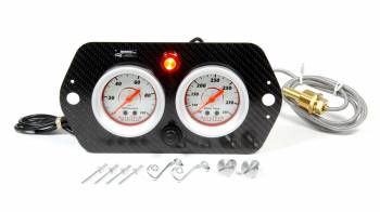 Longacre Racing Products - Longacre AccuTech Sportsman Sprint Car 2 Gauge Panel WT/ OP w/ Warning Light