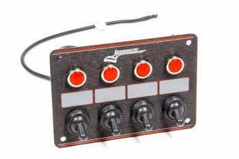 Longacre Racing Products - Longacre Accessory Panel Black 4 Switch w/Pilot Light