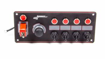 Longacre Racing Products - Longacre Ignition Panel Black w/ 4 Acc. and Pilot Light