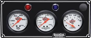 QuickCar Racing Products - QuickCar 3 Gauge Panel OP/WT/Volt Black