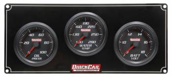 QuickCar Racing Products - QuickCar Redline 3-Gauge Panel OP/WT/Volts