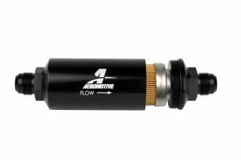 """Aeromotive - Aeromotive Inline Fuel Filter 2"""" OD - 10 Micron - 10AN - Black"""