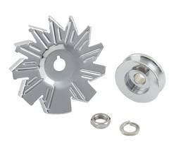 Mr. Gasket - Mr. Gasket Chrome Plated Alternator Fan and Pulley Kit - Single Groove