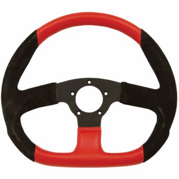 "Grant Steering Wheels - Grant Suede D - shaped Steering Wheel - 13 3/4"" - Black/Red"