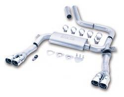 Borla Performance Industries - Borla Cat-Back 3 in. Adjustable System - Includes Connecting Pipes / Mufflers / Tips / Mounting Hardware - 3.8 in. x 3 in. Square