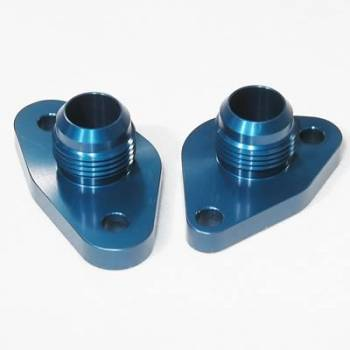 Meziere Enterprises - Meziere SB Ford #12 Water Pump Port Adapters - Blue (2 Pack)