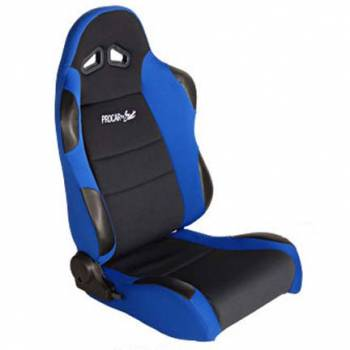 Procar by Scat - ProCar Sportsman Racing Seat - Left Side - Black Velour Inside - Blue Velour Wings and Bolsters