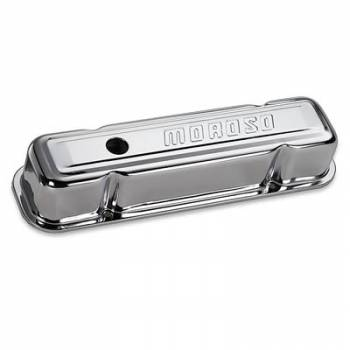 Moroso Performance Products - Moroso Chrome B/E Valve Covers Pontiac V8 Tall w/ Baffle