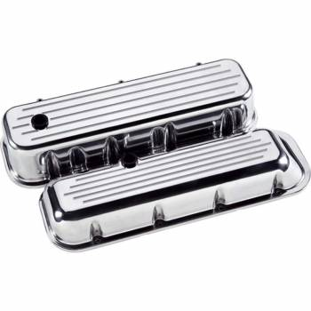 Billet Specialties - Billet Specialties BB Chevy Tall Valve Covers - Polished - Ball-Milled Logo - BB Chevy - (Set of 2)