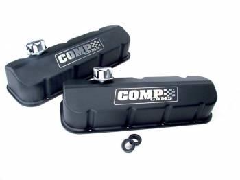 Comp Cams - COMP Cams BB Chevy Cast Aluminum Valve Cover Set - Black w/ Comp Logo
