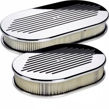 Billet Specialties - Billet Specialties Polished Small Oval Air Cleaner Assembly - Ball-Milled Design - 2 in. Filter