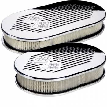 Billet Specialties - Billet Specialties Polished Small Oval Air Cleaner Assembly - Checkered Flag Logo Design - 2 in. Filter