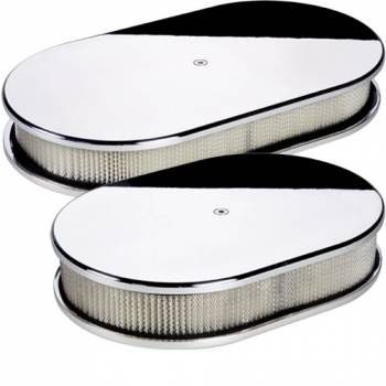 Billet Specialties - Billet Specialties Small Oval Air Cleaner Assembly - Polished - Plain Design - 2 in. Filter Height