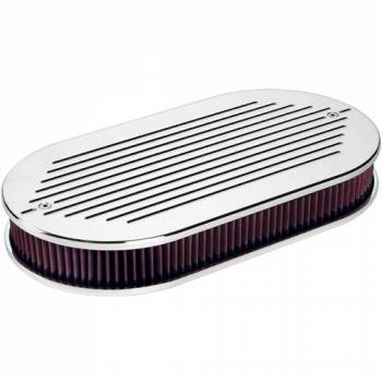Billet Specialties - Billet Specialties Large Oval Dual Quad Air Cleaner Assembly - Adjustable Base - Polished - Ball-Milled Design