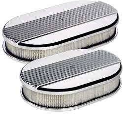 Billet Specialties - Billet Specialties Small Oval Air Cleaner Assembly - Polished - Ribbed Design - 2 in. Filter Height
