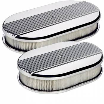 Billet Specialties - Billet Specialties Large Oval Air Cleaner Assembly - Polished - Ribbed Design - 2 in. Filter Height