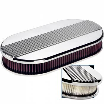 Billet Specialties - Billet Specialties Large Oval Dual Quad Air Cleaner Assembly - Polished - Ribbed Design - 2 1/4 in. Filter Height